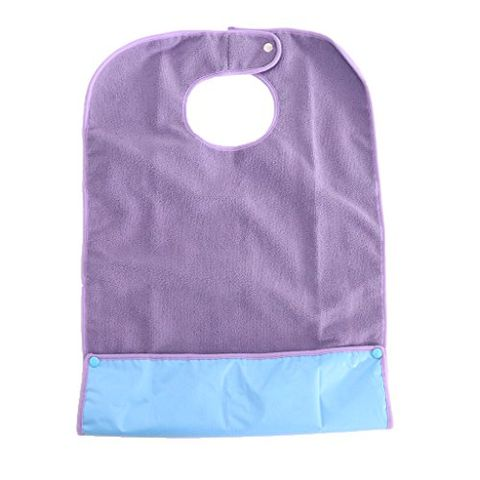 Reusable Waterproof Adjustable Elderly Adult Cloth Protector Mealtime Dinning Bib Aid Apron with Crumb Catcher