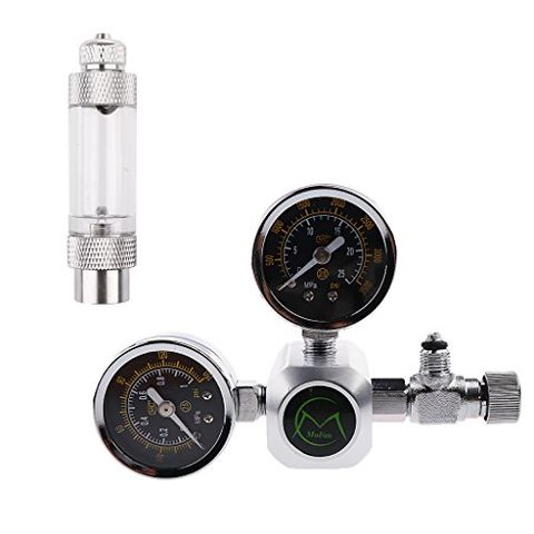 Dual-Gauge CO2 Regulator Carbon Dioxide Pressure Reducer with Adjustable Valve and Bubble Counter