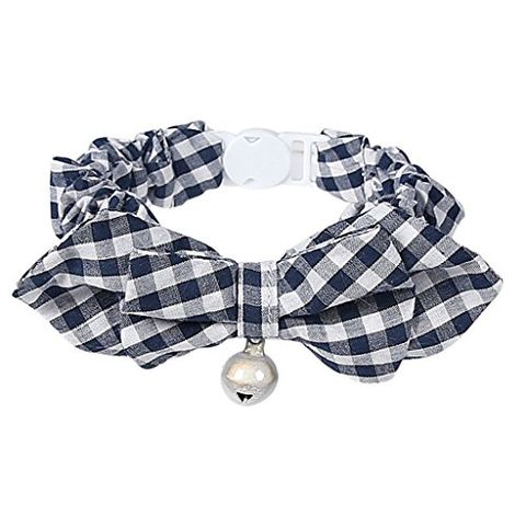 Pet Dog Cat Kitten Fashionable Bell Charms Collar Necklace Pet Lovers Gift Pet Supplies Blue Plaid Pattern Design