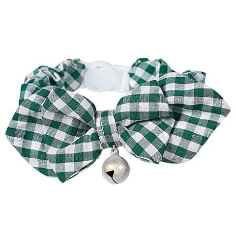 Pet Dog Cat Kitten Fashionable Bell Charms Collar Necklace Pet Lovers Gift Pet Supplies Green Plaid Pattern Design
