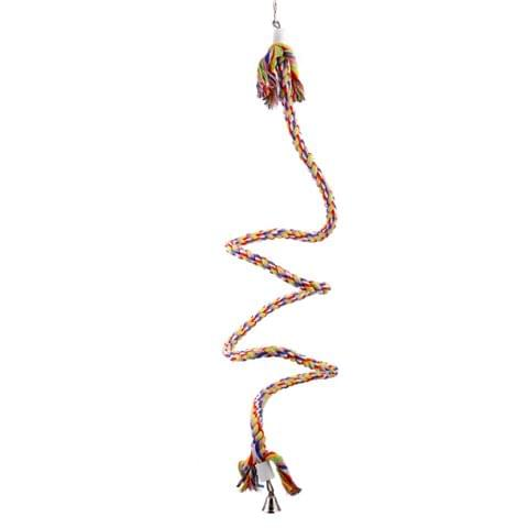 Durable Easy To Carry Flexible Shape Soft Cotton Parrot Cage Toy Rope Multi-Color 1.1M
