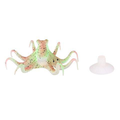 Generic Silicone Glowing Effect Underwater Aquarium Octopus Ornament Green