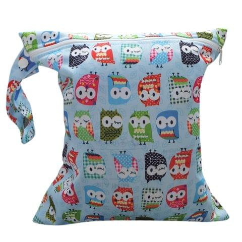 Baby Clothes Wet Diaper Nappy Storage Holder Waterproof Zippered Reusable Tote Style Bag Owl Print Handbag Light Blue