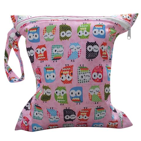 Baby Infants Wet Diaper Nappy Storage Waterproof Zippered Reusable Tote Style Bag Owl Print Handbag Pink