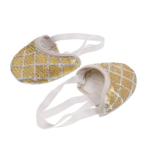 Pair Of Women Girls Ladies Sequin Elastic Straps Ballet Belly Jazz Indoor Dance Shoes L Gold