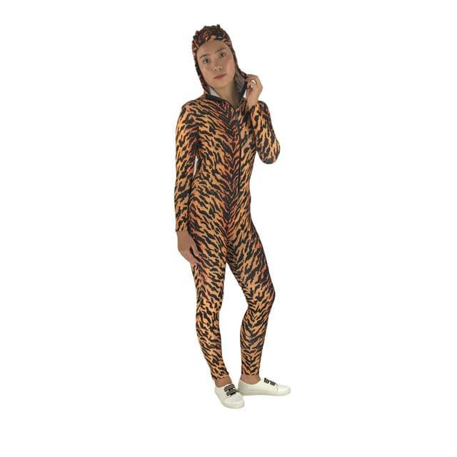 Fashionable Flexible Leopard Print Design Stretchy Spandex Suit Zentai Costume Unitard Leotard Fancy Dress Bodysuit for Men Women S