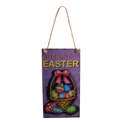 Vintage Wooden WITH LOVE AT EASTER Door Wall Hanger with Easter Egg Decor Directional Sign