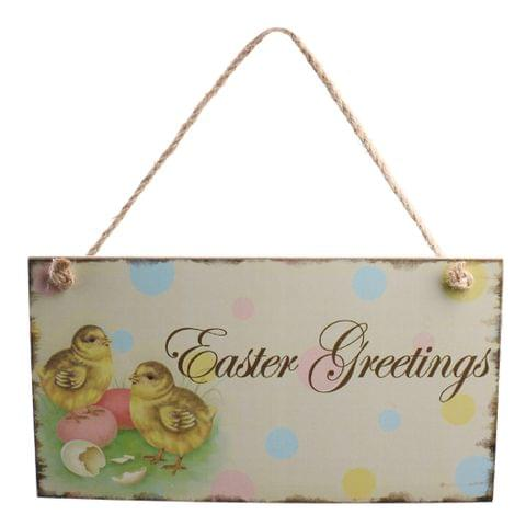 Vintage Wooden Easter Greeting Door Wall Hanger with Easter Chick Decor Directional Sign