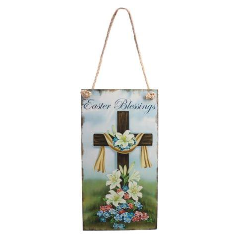 Vintage Wooden Easter Blessings Door Wall Hanger with Cross Flower Decor Directional Plaque