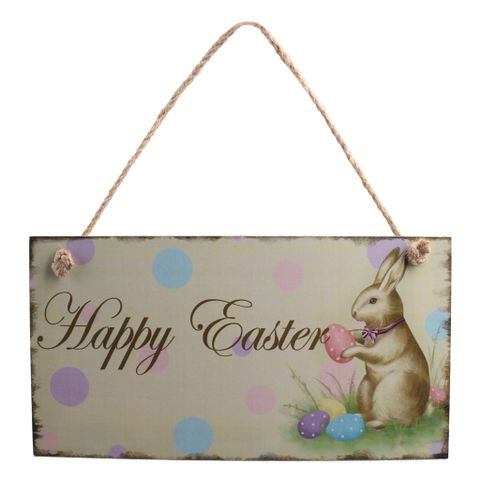 Vintage Wooden Happy Easter Door Wall Hanger with Easter Egg Bunny Decor Directional Sign