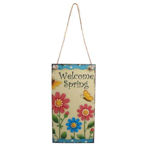 Vintage Wooden Easter Welcome Spring Door Wall Hanger with Flower Decor Decorative Sign