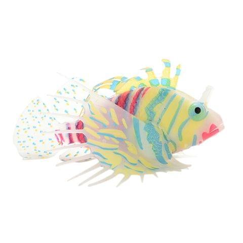 Artificial Silicone Glow Lionfish Snailfish Fish Aquarium Fish Harmless Fish Tank Decoration Ornaments Pet Supplies Orange L