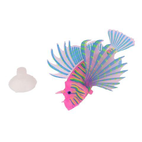Artificial Silicone Glow Lionfish Snailfish Fish Aquarium Fish Harmless Fish Tank Decoration Ornaments Pet Supplies Green S