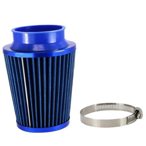 Blue 3'' Car Truck Turbo Cold Air Filter Round Cone High Flow