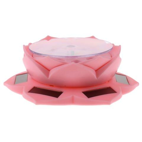 Solar Powered Lotus Flower Lamp 360° Rotary Jewelry Watch Ring Display Stand Plate for Retail Showcase Pink