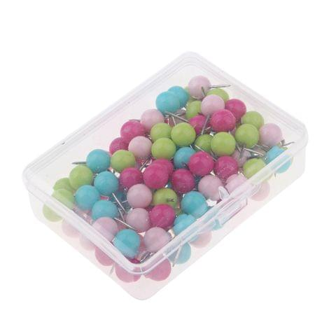 100 Pieces Multi-color Round Headed 10 mm Map Push Pins Tacks Home Office Drawing Cork Notice Board