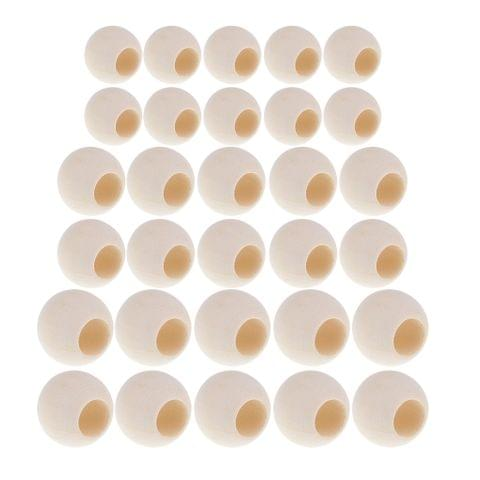 30 Pieces Large Hole BOHO Style Natural Color Wood Round Spacer Beads Bulk Lots for Jewelry Making Craft DIY Macrame Bracelet Necklace Accessories 20mm 25mm 30mm Mixed