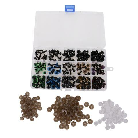 150 Pieces 10/12mm Mixed Color + 6-12mm Black Plastic Eyes with Washers for Teddy Bear Doll Puppet DIY Craft
