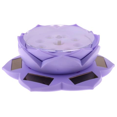 Solar Power/Battery Lotus Flower Lamp 360° Rotary Jewelry Watch Ring Bracelet Display Stand Plate Purple
