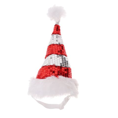 Adjustable Pet Dog Puppy Cat Shiny Red White Striped Christmas Santa Hat for Pets Winter Party Clothes Xmas Costume Dress Up Size L