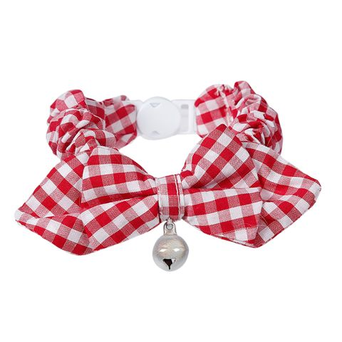 Pet Dog Cat Kitten Fashionable Bell Charms Collar Necklace Pet Lovers Gift Pet Supplies Red Plaid Pattern Design