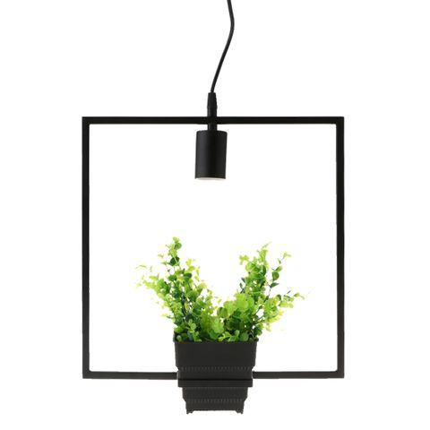 Black Geometric Iron Ceiling Lamp Pendant Light Plants Flower Pots Light Fixture-Square