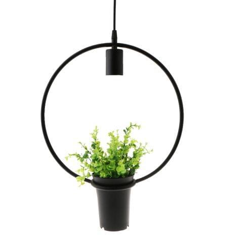 Black Geometric Iron Ceiling Lamp Pendant Light Plants Flower Pots Light Fixture #Circular