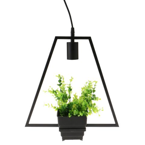 Black Geometric Iron Ceiling Lamp Pendant Light Plants Flower Pots Light Fixture #4