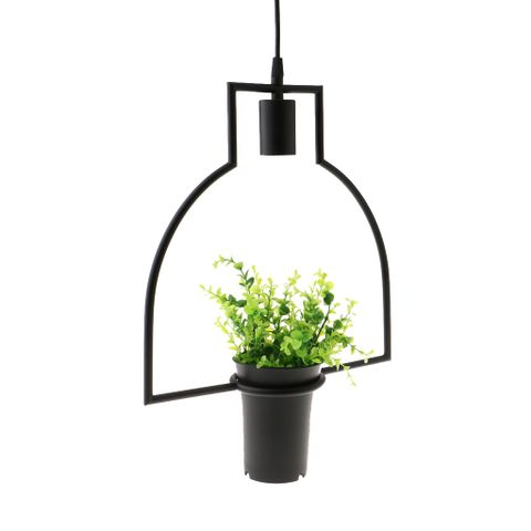 Black Geometric Iron Ceiling Lamp Pendant Light Plants Flower Pots Light Fixture #5