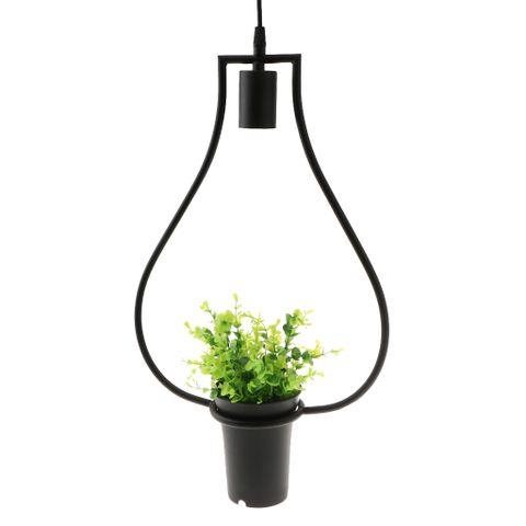 Black Geometric Iron Ceiling Lamp Pendant Light Plants Flower Pots Light Fixture #6