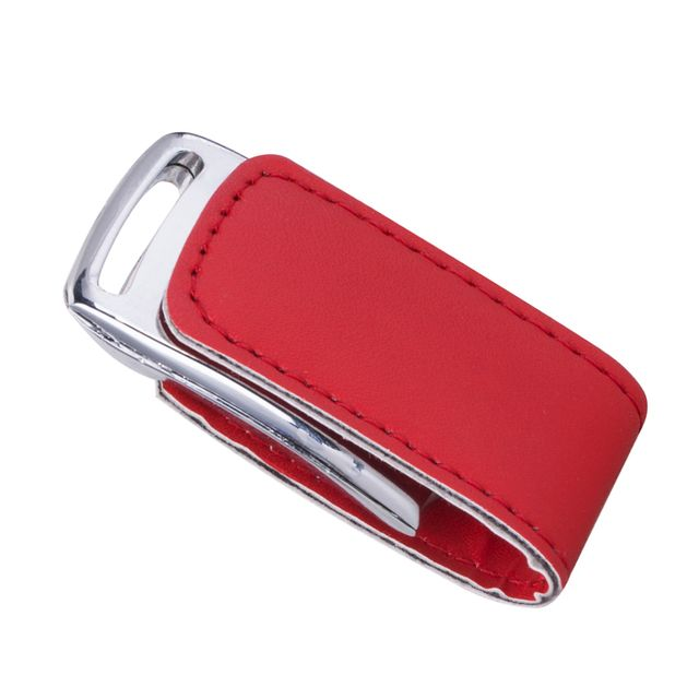 Portable PU-Leather Clamshell USB2.0 Flash Drive Memory Stick Storage Disk Red 128GB
