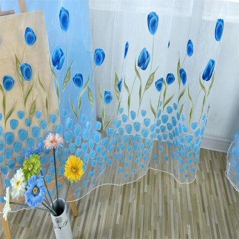 100*200cm Tullip Flower Window Voile Curtain Panel Sheer Tulle Drape Blue