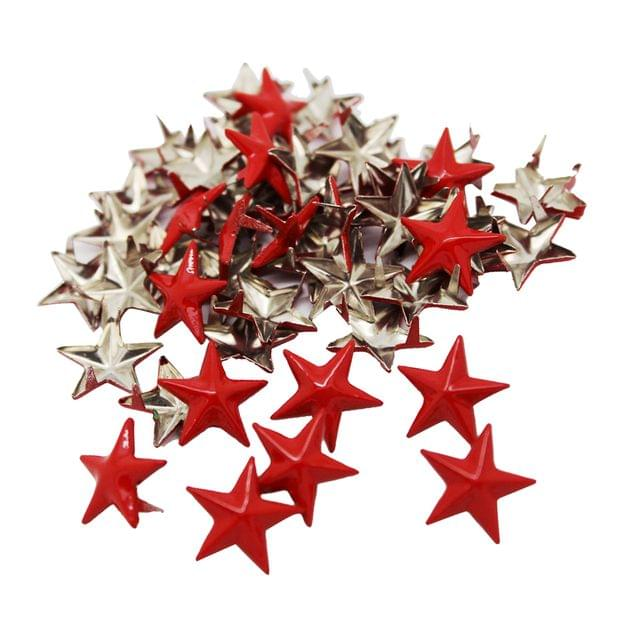 50 Pieces DIY Red Star Rivets Studs Alloy Decorative Buttons Garment DIY Crafts