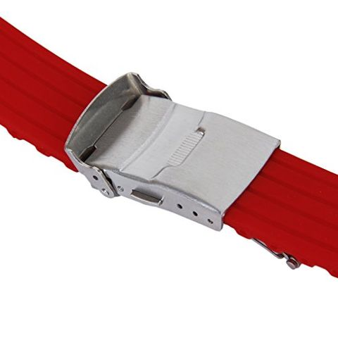 Soft Water Resistant Silicone Watch Band Strap Sports Divers Accessory 22mm Red