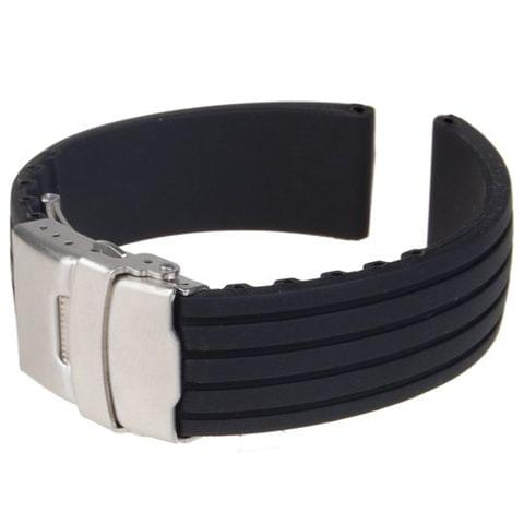 Waterproof Stainless Steel Deployment Buckle Silicone Watch Band Running Fitness Gym Divers Sports Accessory 22mm Black