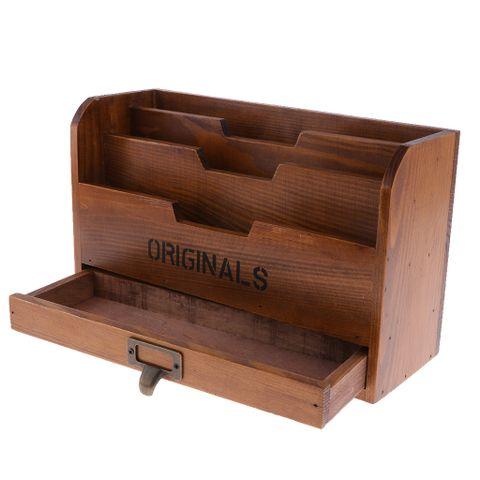 3-Tier Shabby Chic Wooden Storage Organizer Holder Mail Rack For Desktop Tabletop