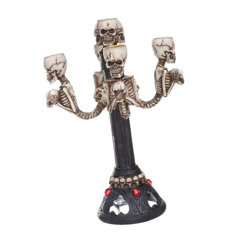 Skull Candelabra Halloween Decorative Lamp Table Centrepiece /5-arm Candle Stick Holder