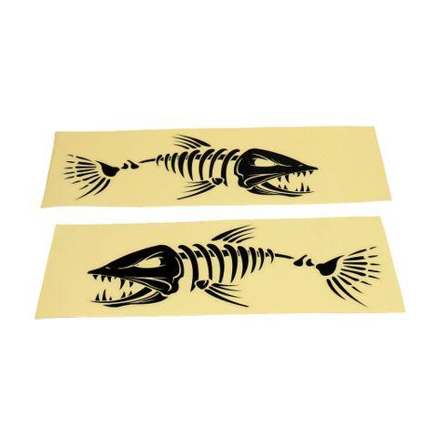Set of 2 Skeleton Fish Bone Sticker Decal Car Window Boat Kayak Decal Black