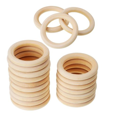 20pc Unfinished Blank Wood Rings Natural Maple Wooden Rings for DIY Crafts Rattles Baby Showing Toys 50mm