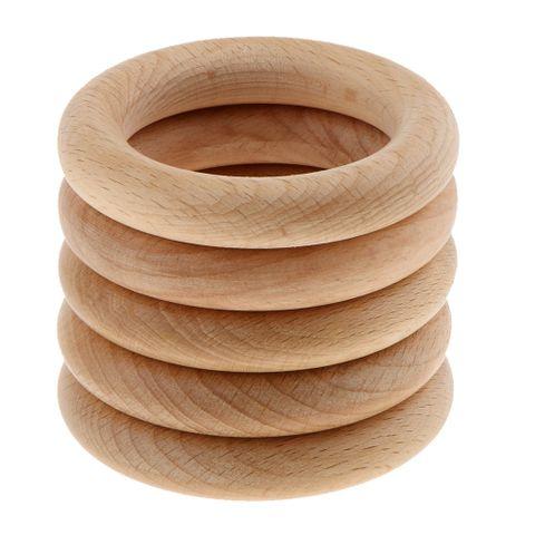 5pcs Handmade Natural Wooden Teething Rings Bracelet Wood Baby Teether Rings