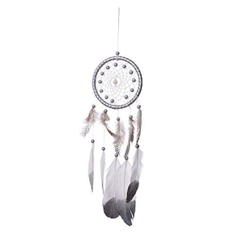 Generic Handmade Dream Catcher With Feathers Kids Bedroom Decoration Wall Hanging Ornament Silver