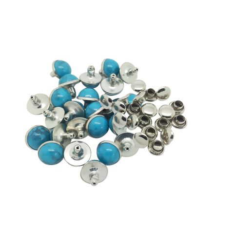 20 Sets Alloy Round Rivets Rapid Studs 8mm Turquoise