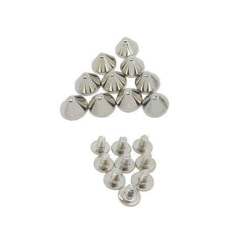 10 Sets Spikes Metal Studs Rivets Screwback Spots Cone Leather Craft DIY 9x6mm