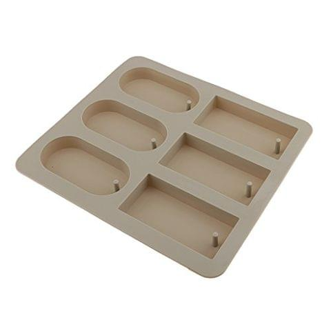 DIY 6-Cavity Aromatherapy Silicone Dried Flowers Mold for Wax Candle Soap Tools Rectangle&Round Shaped