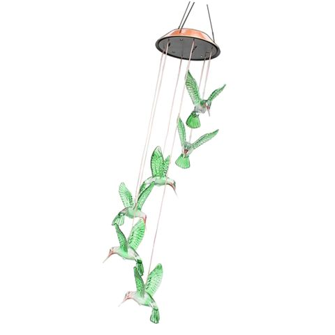 Color Changing LED Solar Hummingbird Mobile Wind Chime Light Home Yard Decoration