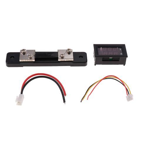 DC 0-100V 50A Voltmeter Ammeter LED Digital Amp Volt Meter Gauge W/ Shunt