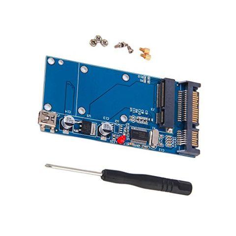 mSAT Female to 7+15 Pin SATA Male Mini USB 5pin Converter Card for SSD Card