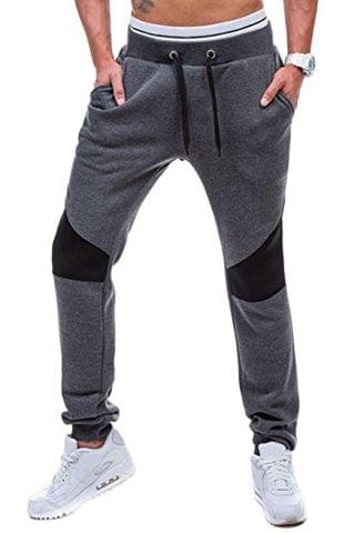 LEWEL Men's Casual Slim Fit Black, Grey, Black Jogger Track Pant with Double Pockets for Sports, Gym, Athletic Training, Workout (100% Cotton Bio Washed)