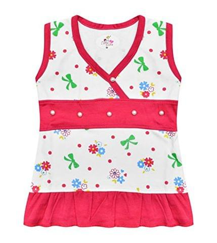 LEWEL Baby Girls Midi/Mini Frocks Cute Dress, Extra Soft to Keep Baby Warm & Cosy – 100% Tested Cotton, All-Over Print - Comfort Fit, 0 Months to 24 Months