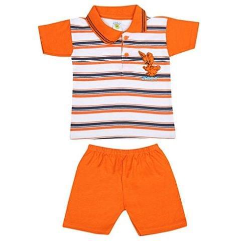 SIXER Polo Kid's Wear Orange With White Navy Striped Top